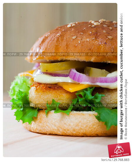 Купить «Image of burger with chicken cutlet, cucumber, lettuce and onion», фото № 29768883, снято 23 июля 2019 г. (c) Яков Филимонов / Фотобанк Лори