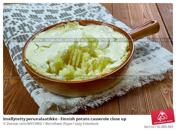 Imellytetty perunalaatikko - Finnish potato casserole close up. Стоковое фото, фотограф Zoonar.com/MYCHKO / easy Fotostock / Фотобанк Лори