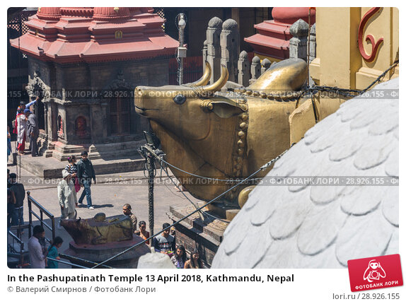 Купить «In the Pashupatinath Temple 13 April 2018, Kathmandu, Nepal», фото № 28926155, снято 13 апреля 2018 г. (c) Валерий Смирнов / Фотобанк Лори