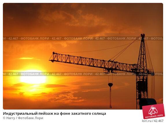 Индустриальный пейзаж на фоне закатного солнца, фото № 42467, снято 5 июня 2005 г. (c) Harry / Фотобанк Лори