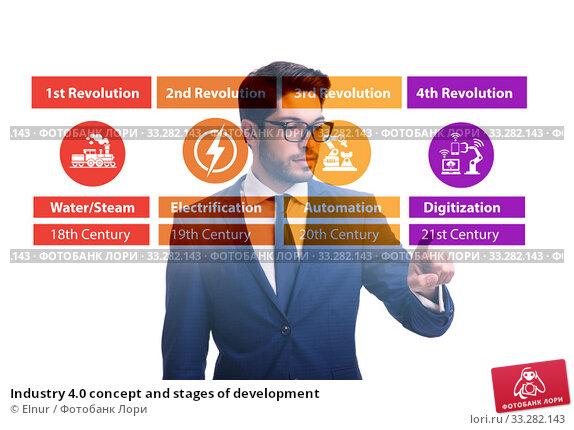Купить «Industry 4.0 concept and stages of development», фото № 33282143, снято 5 июля 2020 г. (c) Elnur / Фотобанк Лори