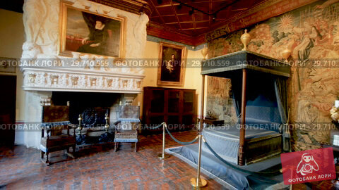Купить «Interior of bedroom chamber with tapestry on walls at medieval castle Chenonceau in Chenonceaux, France», видеоролик № 29710559, снято 8 октября 2018 г. (c) Яков Филимонов / Фотобанк Лори