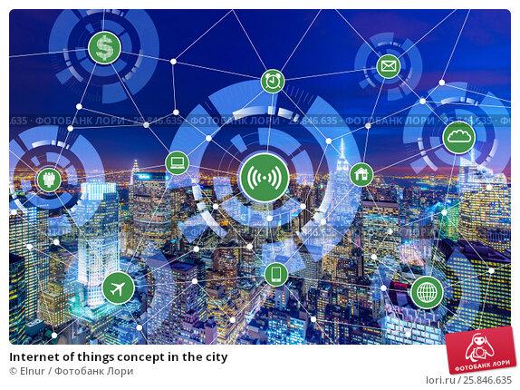 Купить «Internet of things concept in the city», фото № 25846635, снято 24 февраля 2020 г. (c) Elnur / Фотобанк Лори