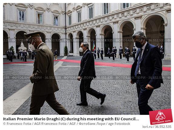 Italian Premier Mario Draghi (C) during his meeting with EU Council... Редакционное фото, фотограф Francesco Fotia / AGF/Francesco Fotia / AGF / age Fotostock / Фотобанк Лори