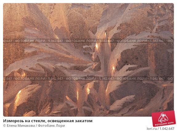 Изморозь на стекле, освещенная закатом. Стоковое фото, фотограф Елена Минакова / Фотобанк Лори