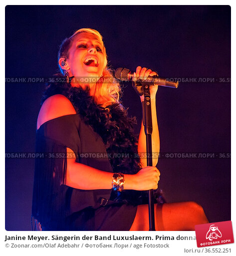 Janine Meyer. Sängerin der Band Luxuslaerm. Prima donna of Luxuslaerm. Стоковое фото, фотограф Zoonar.com/Olaf Adebahr / age Fotostock / Фотобанк Лори