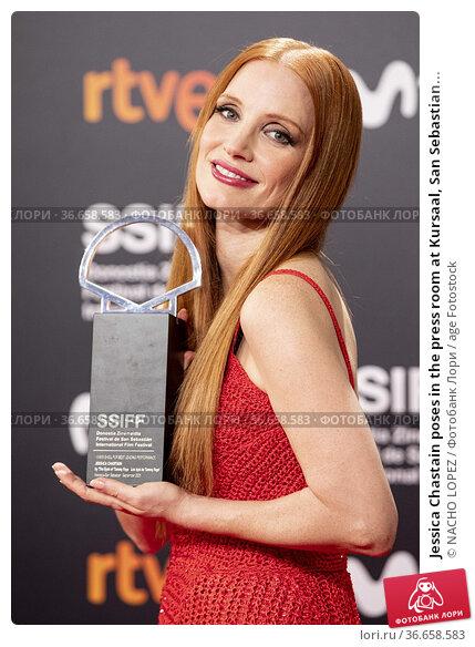 Jessica Chastain poses in the press room at Kursaal, San Sebastian... Редакционное фото, фотограф NACHO LOPEZ / age Fotostock / Фотобанк Лори