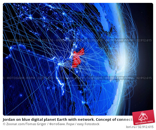 Jordan on blue digital planet Earth with network. Concept of connectivity, travel and communication. 3D illustration. Elements of this image furnished by NASA. Стоковое фото, фотограф Zoonar.com/Tomas Griger / easy Fotostock / Фотобанк Лори