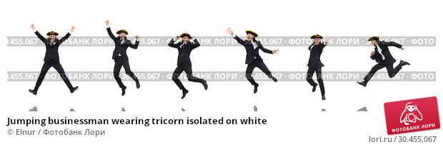 Jumping businessman wearing tricorn isolated on white. Стоковое фото, фотограф Elnur / Фотобанк Лори