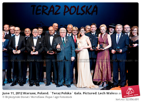 June 11, 2012 Warsaw, Poland. `Teraz Polska` Gala. Pictured: Lech Walesa and Aleksandra Kwasniewska. Редакционное фото, фотограф Brykczynski Donat / age Fotostock / Фотобанк Лори