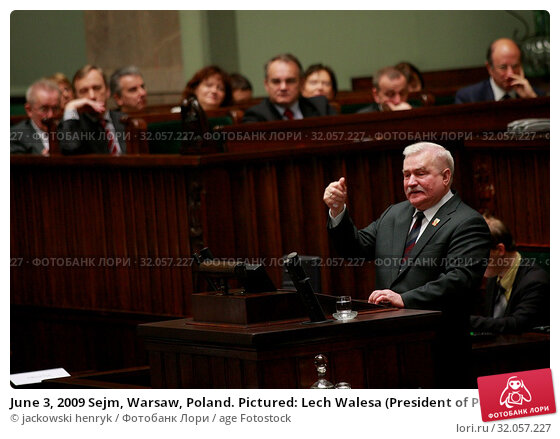 June 3, 2009 Sejm, Warsaw, Poland. Pictured: Lech Walesa (President of Poland between 1990 and 1995, Nobel Prize in 1983) Редакционное фото, фотограф jackowski henryk / age Fotostock / Фотобанк Лори