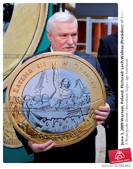 June 3, 2009 Warsaw, Poland. Pictured: Lech Walesa (President of Poland between 1990 and 1995, Nobel Prize in 1983) Редакционное фото, фотограф Brykczynski Donat / age Fotostock / Фотобанк Лори