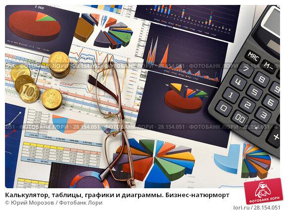 Купить «Калькулятор, таблицы, графики и диаграммы. Бизнес-натюрморт», эксклюзивное фото № 28154051, снято 11 марта 2018 г. (c) Юрий Морозов / Фотобанк Лори