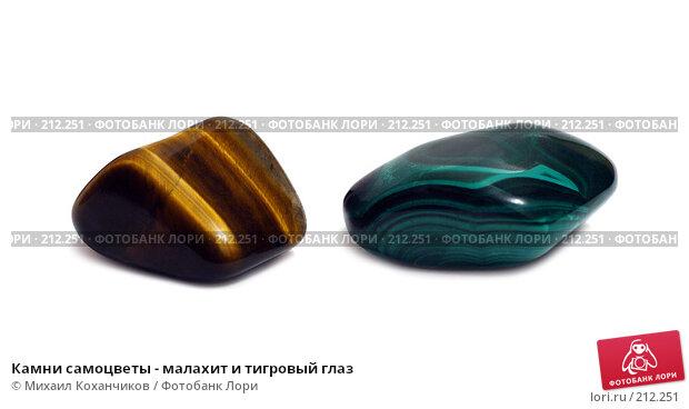 Купить «Камни самоцветы - малахит и тигровый глаз», фото № 212251, снято 23 декабря 2007 г. (c) Михаил Коханчиков / Фотобанк Лори