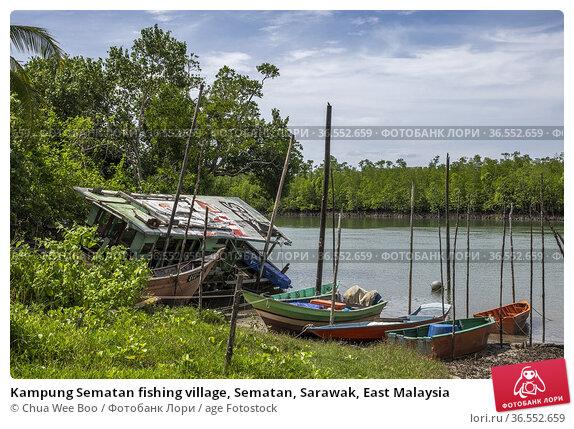 Kampung Sematan fishing village, Sematan, Sarawak, East Malaysia. Стоковое фото, фотограф Chua Wee Boo / age Fotostock / Фотобанк Лори