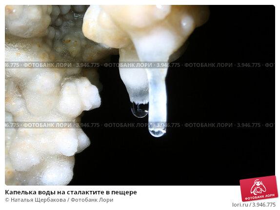 Капелька воды на сталактите в пещере. Стоковое фото, фотограф Наталья Щербакова / Фотобанк Лори