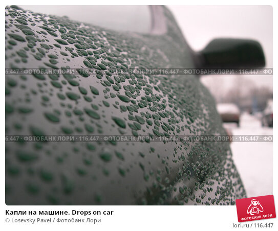 Капли на машине. Drops on car, фото № 116447, снято 3 января 2005 г. (c) Losevsky Pavel / Фотобанк Лори