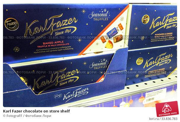 Купить «Karl Fazer chocolate on store shelf», фото № 33836783, снято 29 декабря 2019 г. (c) FotograFF / Фотобанк Лори