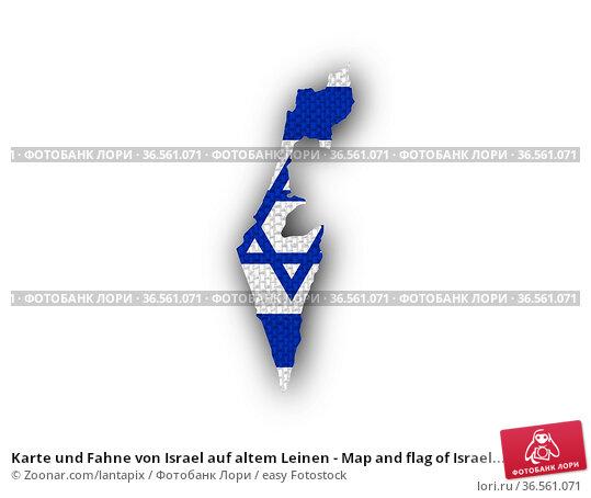 Karte und Fahne von Israel auf altem Leinen - Map and flag of Israel... Стоковое фото, фотограф Zoonar.com/lantapix / easy Fotostock / Фотобанк Лори