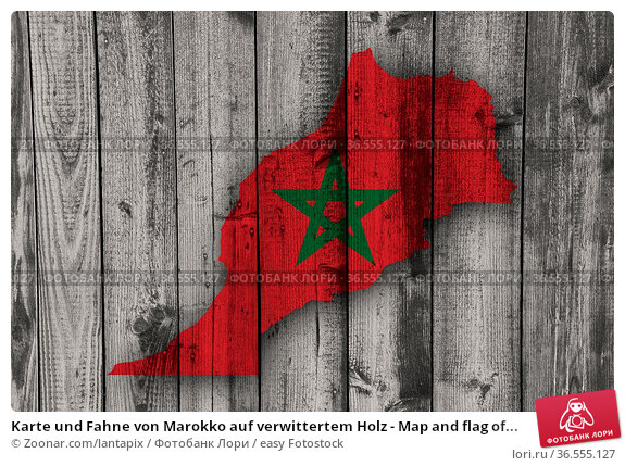 Karte und Fahne von Marokko auf verwittertem Holz - Map and flag of... Стоковое фото, фотограф Zoonar.com/lantapix / easy Fotostock / Фотобанк Лори