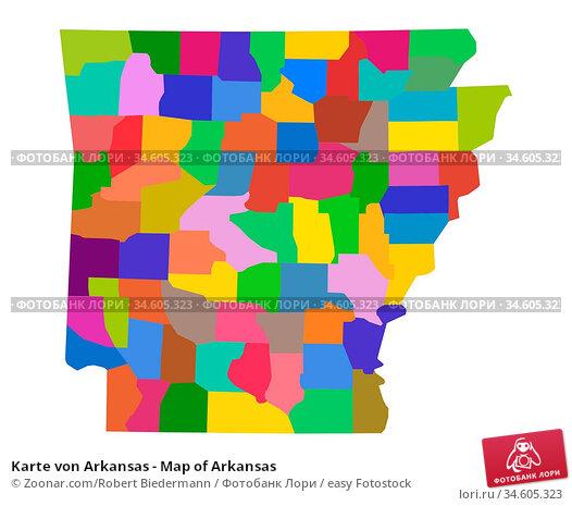 Karte von Arkansas - Map of Arkansas. Стоковое фото, фотограф Zoonar.com/Robert Biedermann / easy Fotostock / Фотобанк Лори