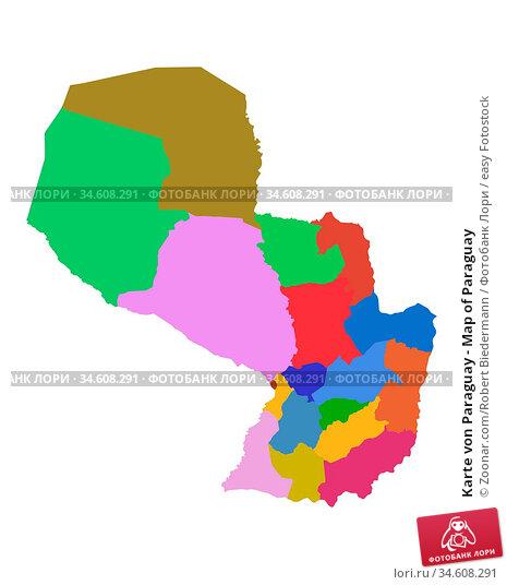 Karte von Paraguay - Map of Paraguay. Стоковое фото, фотограф Zoonar.com/Robert Biedermann / easy Fotostock / Фотобанк Лори