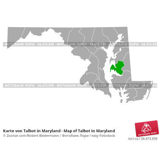 Karte von Talbot in Maryland - Map of Talbot in Maryland. Стоковое фото, фотограф Zoonar.com/Robert Biedermann / easy Fotostock / Фотобанк Лори