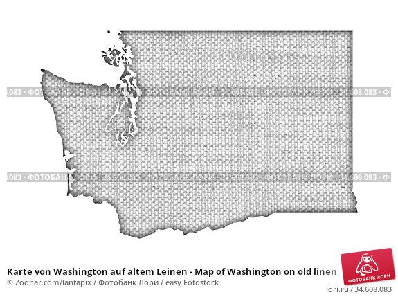 Karte von Washington auf altem Leinen - Map of Washington on old linen. Стоковое фото, фотограф Zoonar.com/lantapix / easy Fotostock / Фотобанк Лори