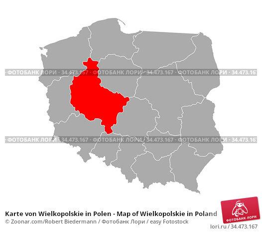 Karte von Wielkopolskie in Polen - Map of Wielkopolskie in Poland. Стоковое фото, фотограф Zoonar.com/Robert Biedermann / easy Fotostock / Фотобанк Лори