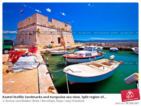 Kastel Stafilic landmarks and turquoise sea view, Split region of... Стоковое фото, фотограф Zoonar.com/Dalibor Brlek / easy Fotostock / Фотобанк Лори