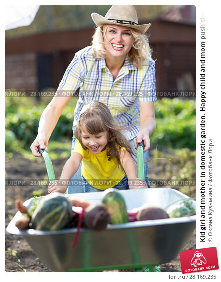 Купить «Kid girl and mother in domestic garden. Happy child and mom push the wheelbarrow with harvest. Healthy organic vegetables for children», фото № 28169235, снято 23 марта 2018 г. (c) Оксана Кузьмина / Фотобанк Лори
