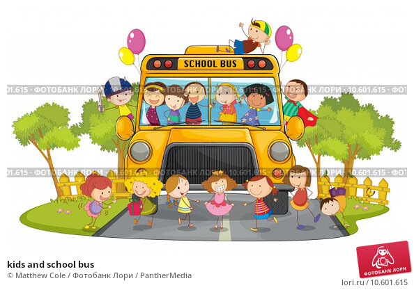 kids and school bus. Стоковая иллюстрация, иллюстратор Matthew Cole / PantherMedia / Фотобанк Лори