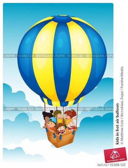 kids in hot air balloon. Стоковая иллюстрация, иллюстратор Matthew Cole / PantherMedia / Фотобанк Лори