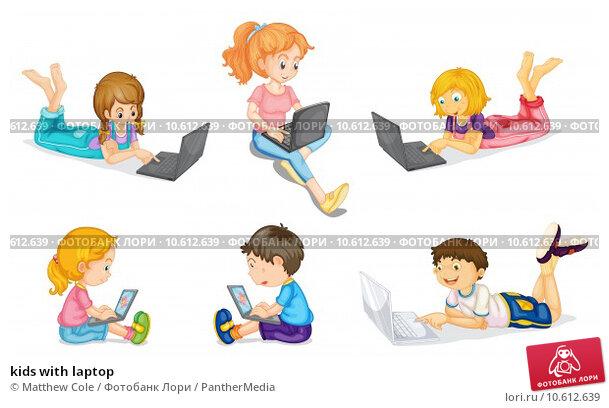 kids with laptop. Стоковая иллюстрация, иллюстратор Matthew Cole / PantherMedia / Фотобанк Лори