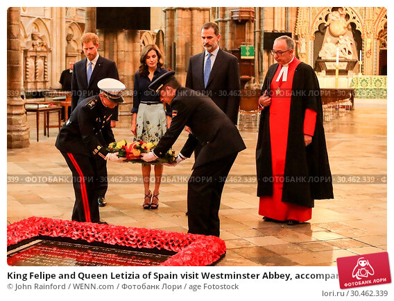 King Felipe and Queen Letizia of Spain visit Westminster Abbey, accompanied... (2017 год). Редакционное фото, фотограф John Rainford / WENN.com / age Fotostock / Фотобанк Лори