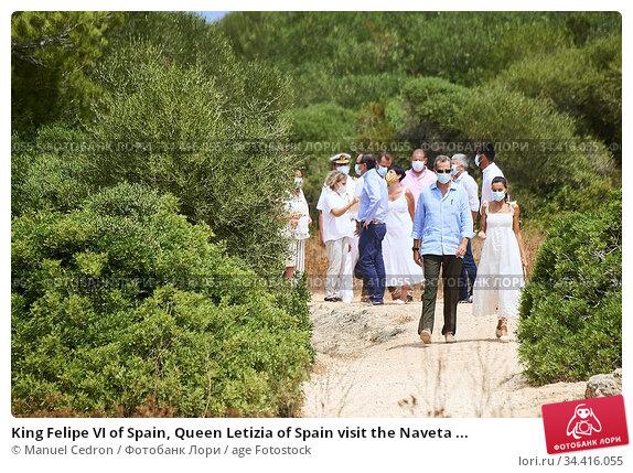 King Felipe VI of Spain, Queen Letizia of Spain visit the Naveta ... Редакционное фото, фотограф Manuel Cedron / age Fotostock / Фотобанк Лори