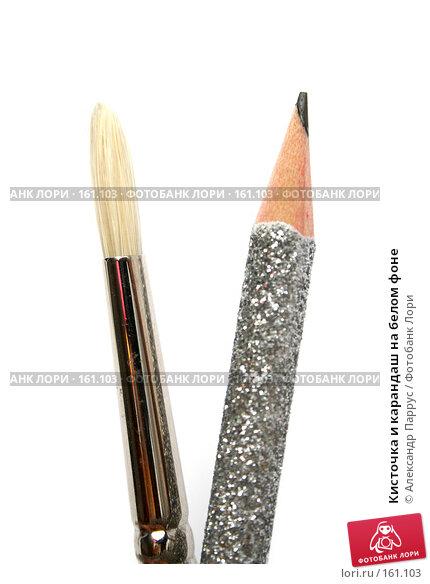 Кисточка и карандаш на белом фоне, фото № 161103, снято 7 октября 2006 г. (c) Александр Паррус / Фотобанк Лори
