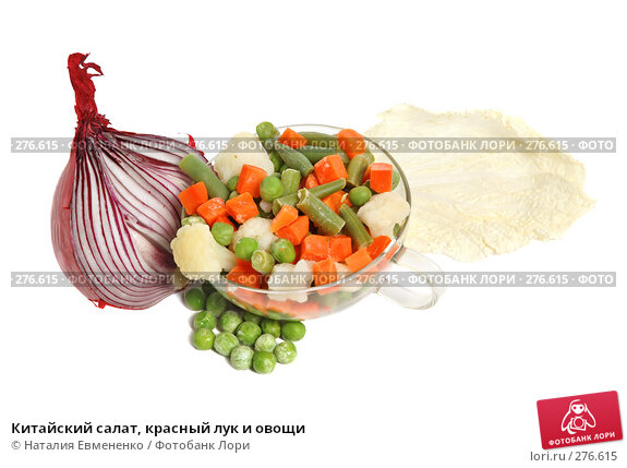 Китайский салат, красный лук и овощи, фото № 276615, снято 24 апреля 2008 г. (c) Наталия Евмененко / Фотобанк Лори