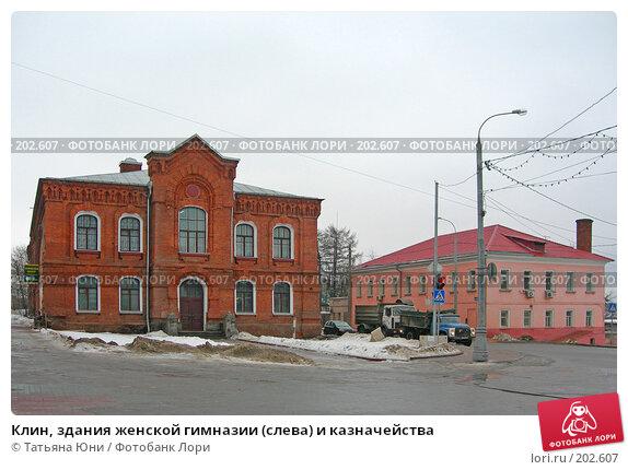 Клин, здания женской гимназии (слева) и казначейства, эксклюзивное фото № 202607, снято 9 февраля 2008 г. (c) Татьяна Юни / Фотобанк Лори