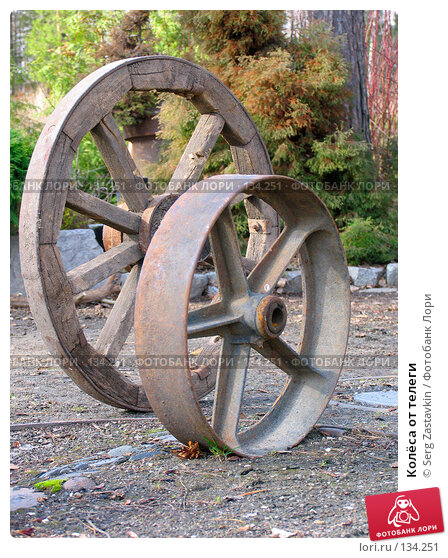 Колёса от телеги, фото № 134251, снято 25 апреля 2005 г. (c) Serg Zastavkin / Фотобанк Лори