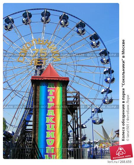 """Колесо обозрения в парке """"Сокольники"""" в Москве, эксклюзивное фото № 268659, снято 29 апреля 2008 г. (c) lana1501 / Фотобанк Лори"""
