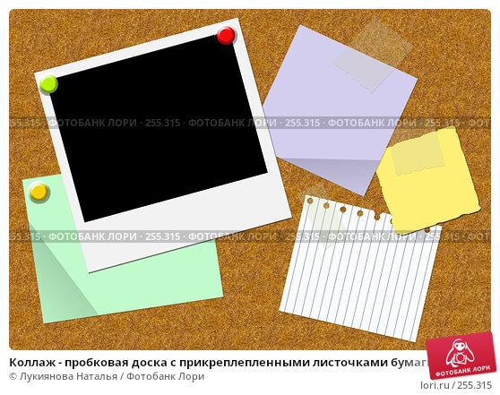 Коллаж - пробковая доска с прикреплепленными листочками бумаги и фотографией, иллюстрация № 255315 (c) Лукиянова Наталья / Фотобанк Лори