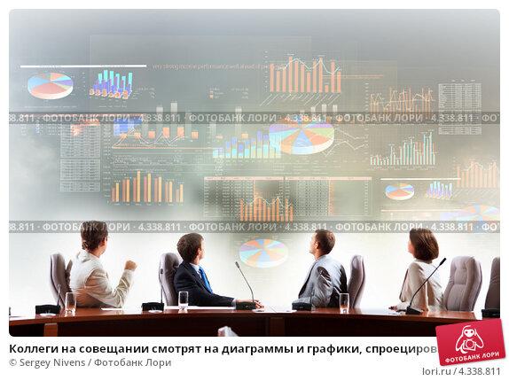Коллеги на совещании смотрят на диаграммы и графики, спроецированные на стену, фото № 4338811, снято 20 октября 2012 г. (c) Sergey Nivens / Фотобанк Лори