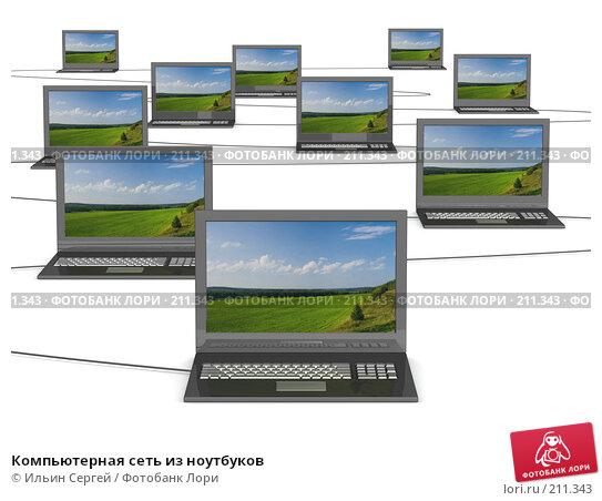 Компьютерная сеть из ноутбуков, иллюстрация № 211343 (c) Ильин Сергей / Фотобанк Лори