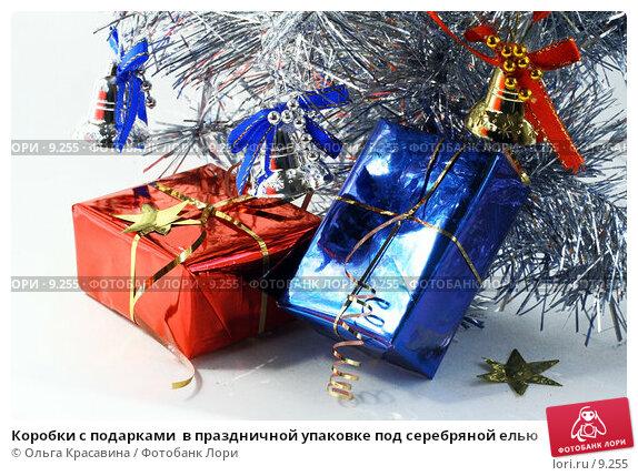 Коробки с подарками  в праздничной упаковке под серебряной елью, фото № 9255, снято 3 сентября 2006 г. (c) Ольга Красавина / Фотобанк Лори