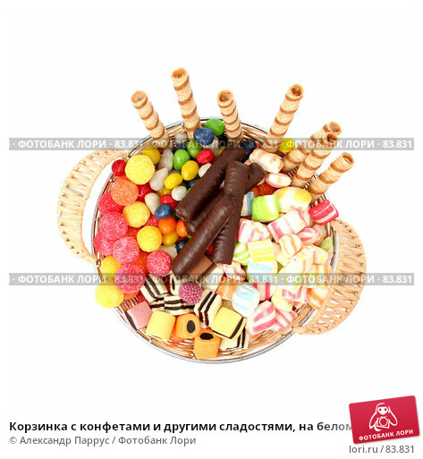 Корзинка с конфетами и другими сладостями, на белом фоне, фото № 83831, снято 9 января 2007 г. (c) Александр Паррус / Фотобанк Лори