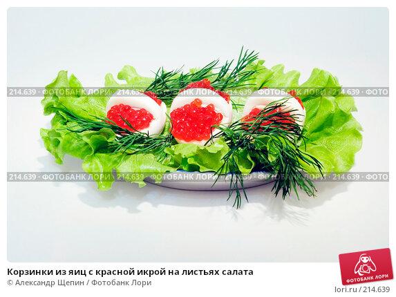 Корзинки из яиц с красной икрой на листьях салата, эксклюзивное фото № 214639, снято 3 марта 2008 г. (c) Александр Щепин / Фотобанк Лори