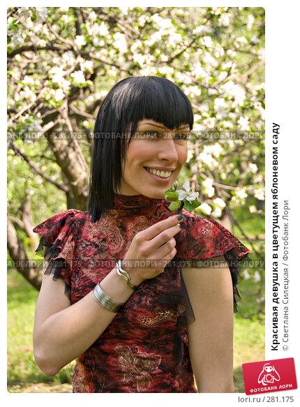 Красивая девушка в цветущем яблоневом саду, фото № 281175, снято 12 мая 2008 г. (c) Светлана Силецкая / Фотобанк Лори