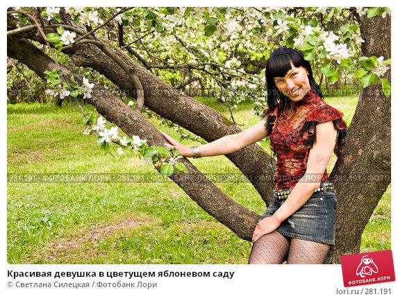 Красивая девушка в цветущем яблоневом саду, фото № 281191, снято 12 мая 2008 г. (c) Светлана Силецкая / Фотобанк Лори