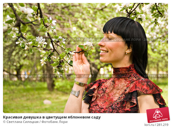 Красивая девушка в цветущем яблоневом саду, фото № 281219, снято 12 мая 2008 г. (c) Светлана Силецкая / Фотобанк Лори